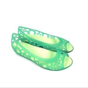 Crocs peep toe perforated hole green jelly sandals